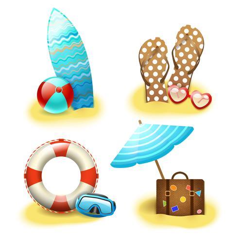 Collezione di accessori vacanza vacanze estive vettore