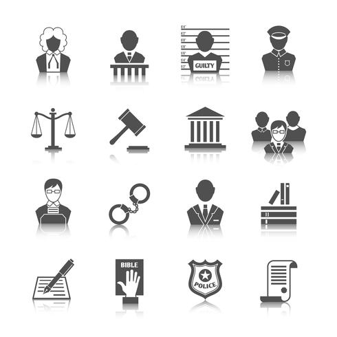 Set di icone di legge e giustizia vettore