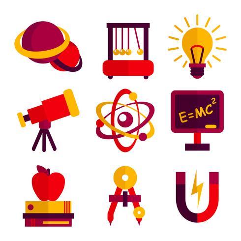 Set di icone di fisica e astronomia vettore