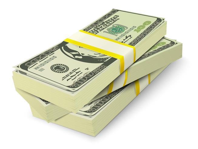 Concetto delle banconote della pila dei soldi vettore
