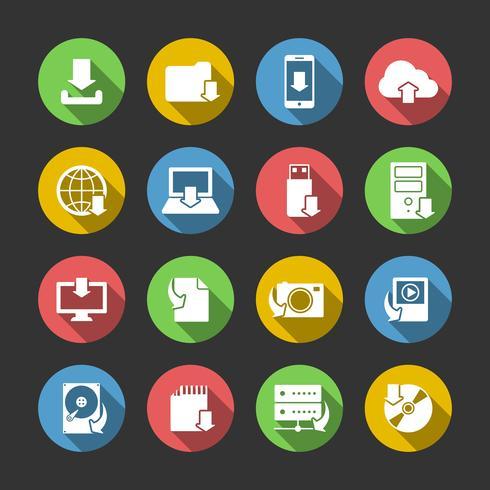 Set di icone di simboli di download di Internet vettore