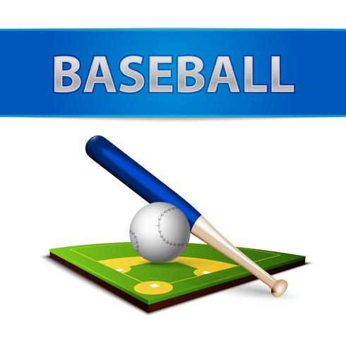 Bolla da baseball e emblema di campo verde vettore