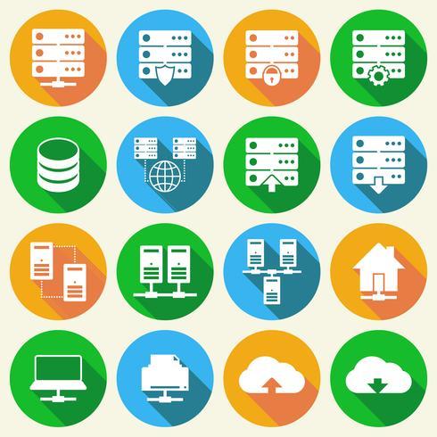 Set di icone di tecnologia di hosting vettore