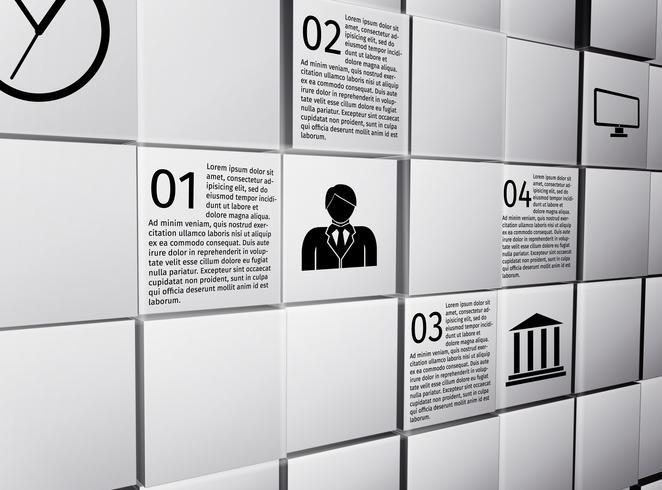 Cubi astratti elementi di design infografico vettore