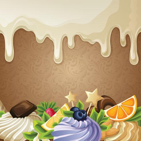 Sfondo di dolci al cioccolato bianco vettore