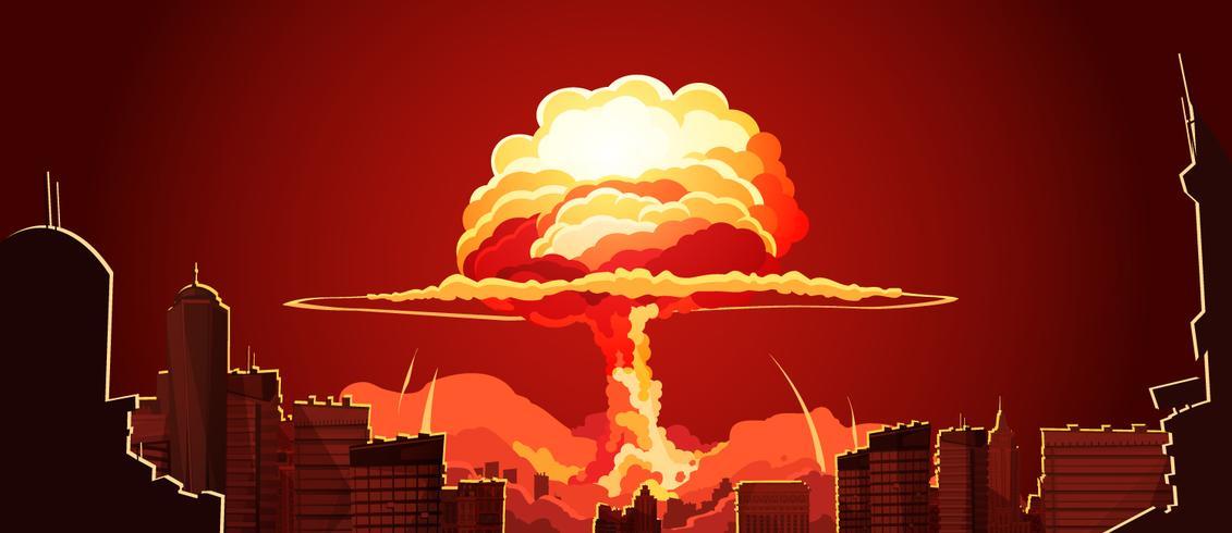 Poster retrò di Nuclear Explosion Mushroom Cloud vettore
