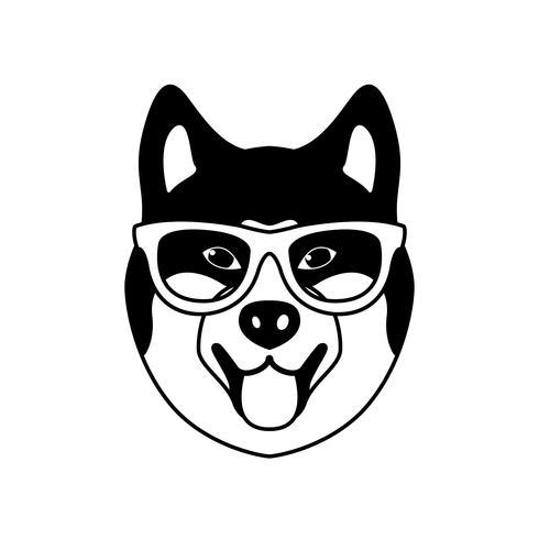 Ritratto di Akito Inu con occhiali, stile piatto bianco e nero. vettore