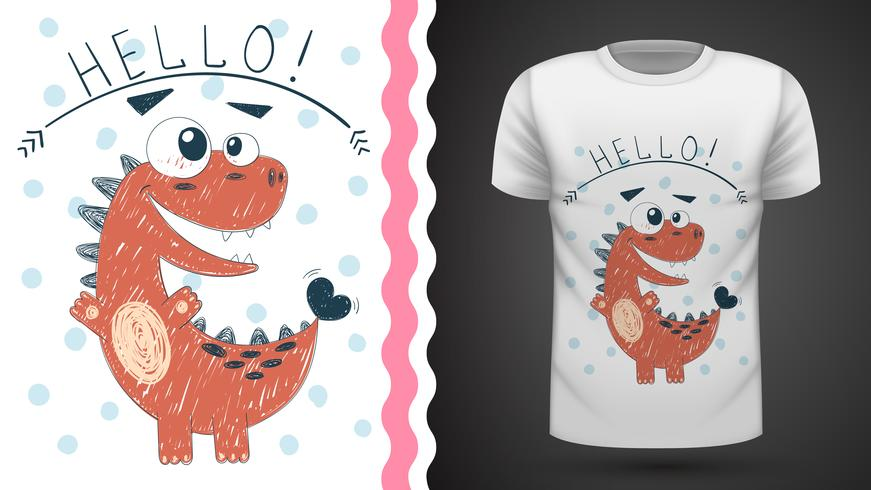 Cute princess dinosaur - idea per t-shirt stampata. vettore