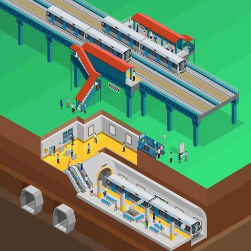 Illustrazione isometrica sotterranea vettore