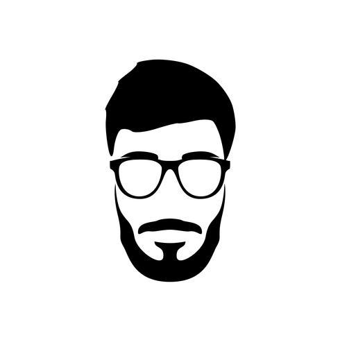 Ritratto di uomo barbuto. Stile hipster. vettore