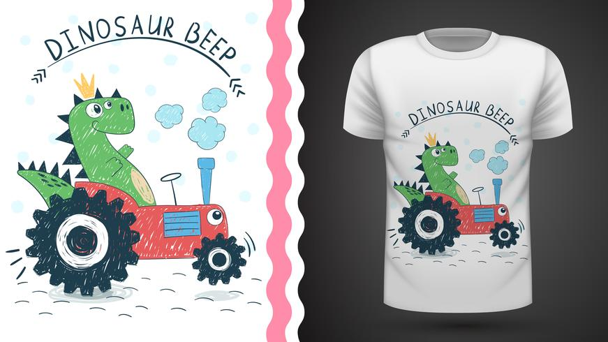 Dino con trattore - idea per t-shirt stampata vettore
