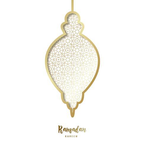 Lanterna dorata decorativa di Ramadan. vettore
