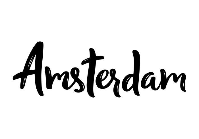Calligrafia di mano lettering di Amsterdam. Calligrafia di pennello disegnato a mano. vettore