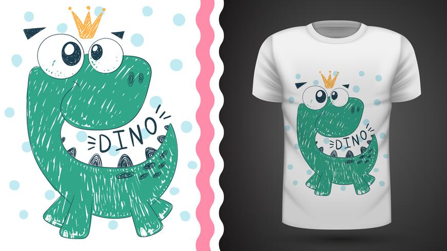 Cute princess dinosaur - idea per t-shirt stampata. vettore