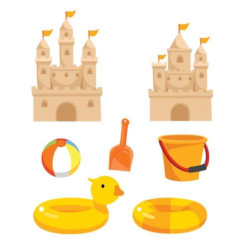 design collectiong giocattoli da spiaggia vettore