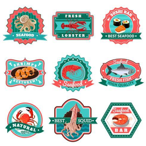 Emblemi di frutti di mare impostati vettore