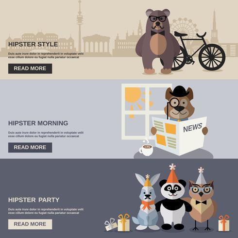 Set di banner animali hipster vettore