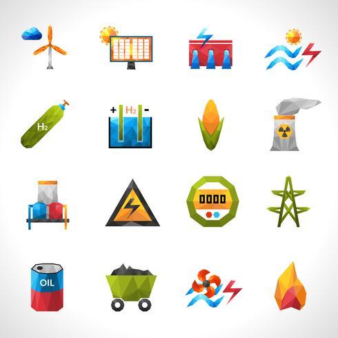 Icone poligonali della centrale elettrica vettore