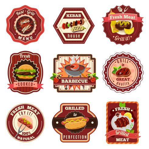 Set di emblemi per barbecue vettore