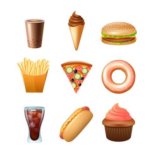 Icone piane del menu del fast food messe vettore