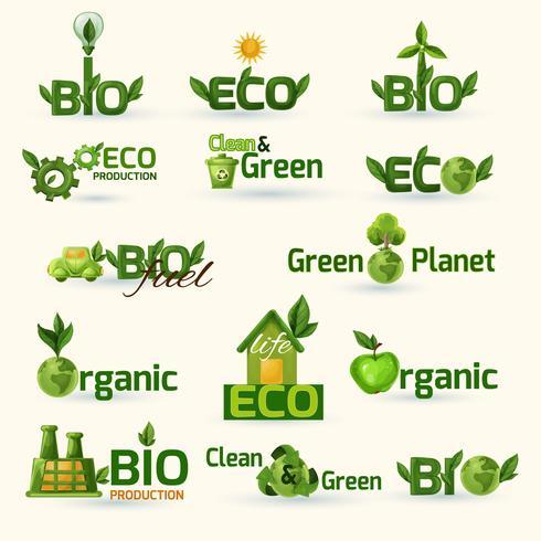 Set di icone di testo ecologia verde vettore