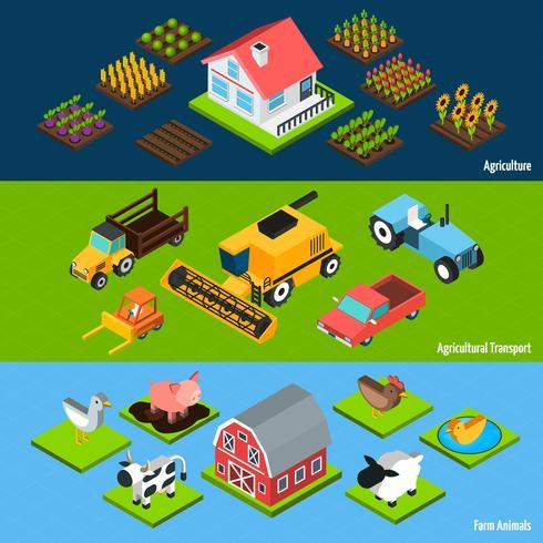 Insegne isometriche orizzontali dell'azienda agricola messe vettore