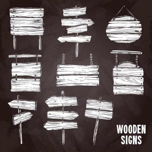 Insieme di stile della lavagna dei segni di legno vettore