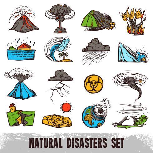 Insieme di colori di disastri naturali vettore