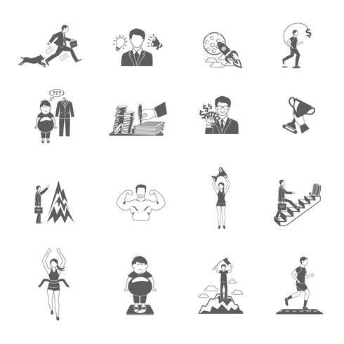 Set di icone di motivazione vettore
