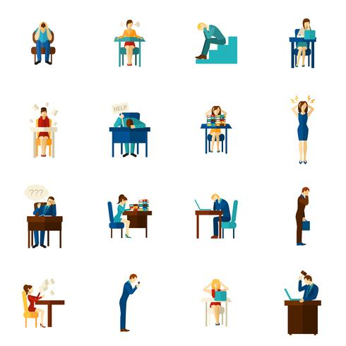 Set di icone piatto di persone di frustrazione vettore