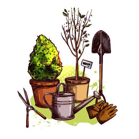 Set di attrezzi da giardino vettore