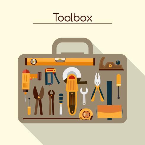 Toolbox con strumenti vettore