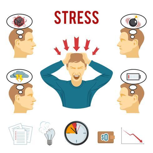 Set di icone di disturbo mentale e lo stress vettore