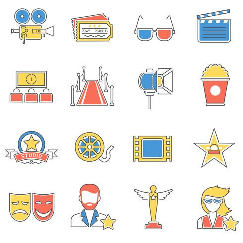 Linea icone film vettore