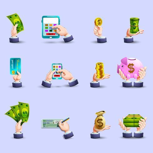 Set di icone piane di pagamento mani vettore
