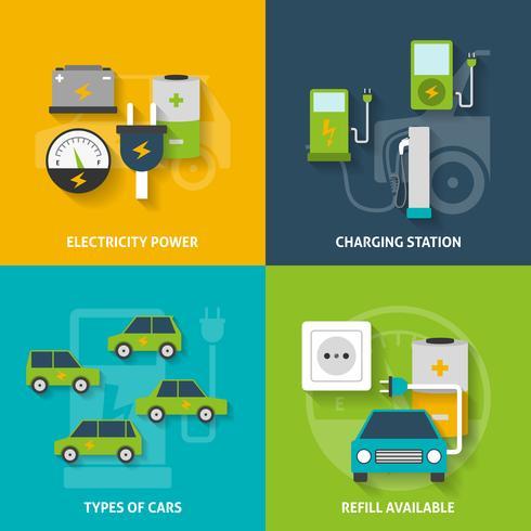 Set di icone decorative auto elettrica vettore