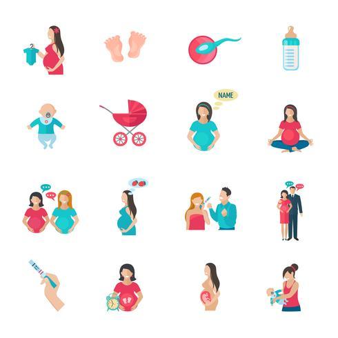 Icone di gravidanza piatte vettore