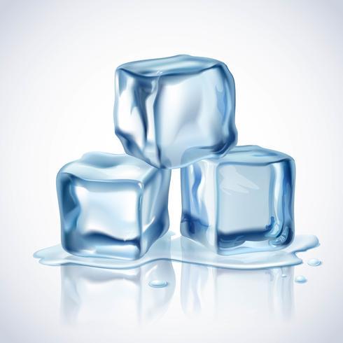 Cubetti di ghiaccio blu vettore