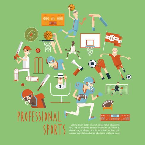 Poster di concetto di sport di squadra competitiva professionale vettore