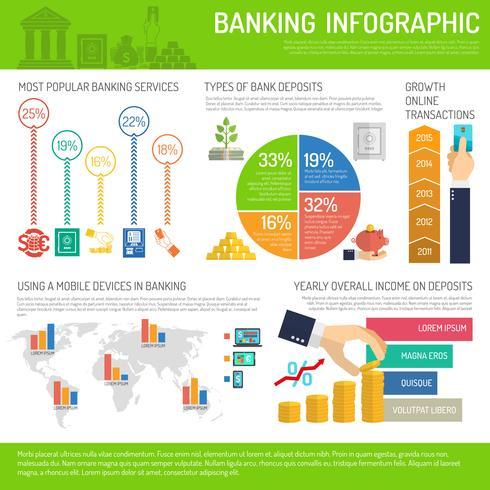 Insieme di infographics di attività bancarie vettore