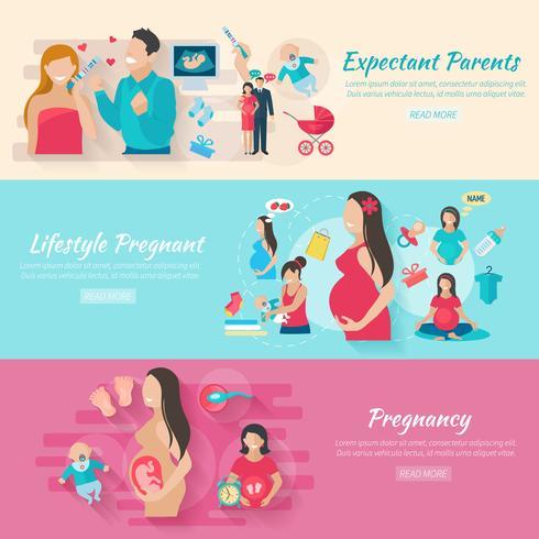 Set di banner gravidanza vettore