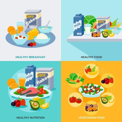 Set piatto di cibo sano vettore
