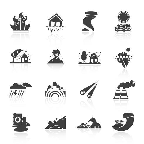 Icone di disastro naturale vettore