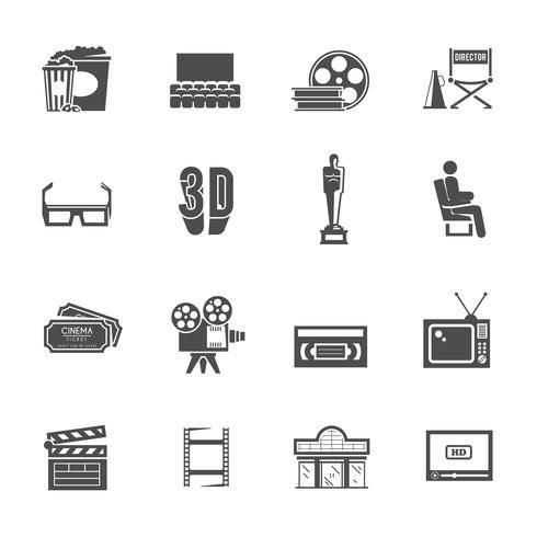 Set di icone retrò nero del cinema vettore