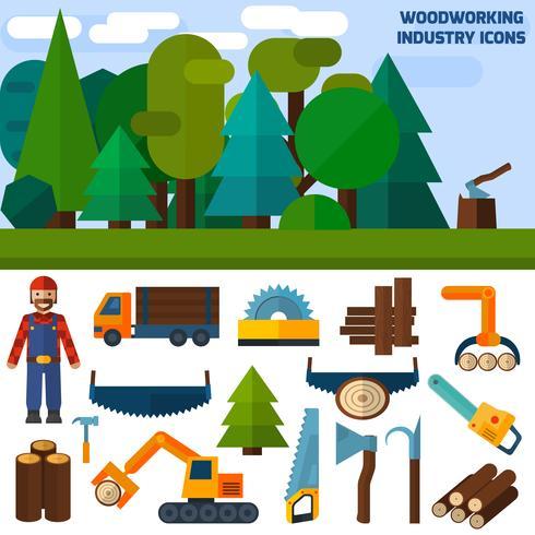 Icone di industria della lavorazione del legno vettore