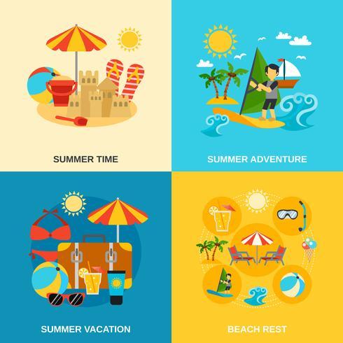 Set di icone di vacanze estive e avventura vettore