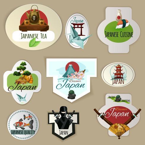 Set di emblemi del Giappone vettore