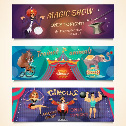 Set di Banner del circo vettore
