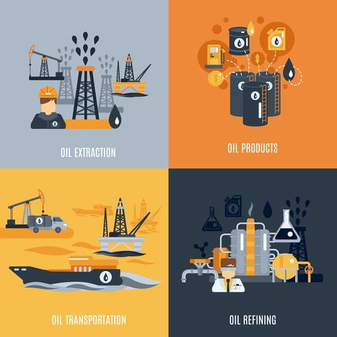 Icona piana di industria petrolifera vettore