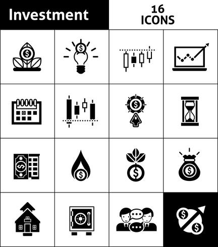 Icone di investimento nere vettore